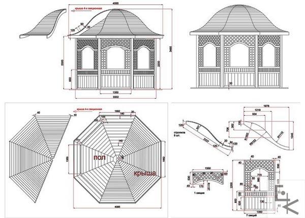 Фото — чертеж крыши для беседки