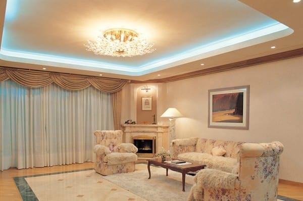 Дизайн потолка из гипсокартона фото гостиная